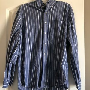 Large. Blue striped button up!